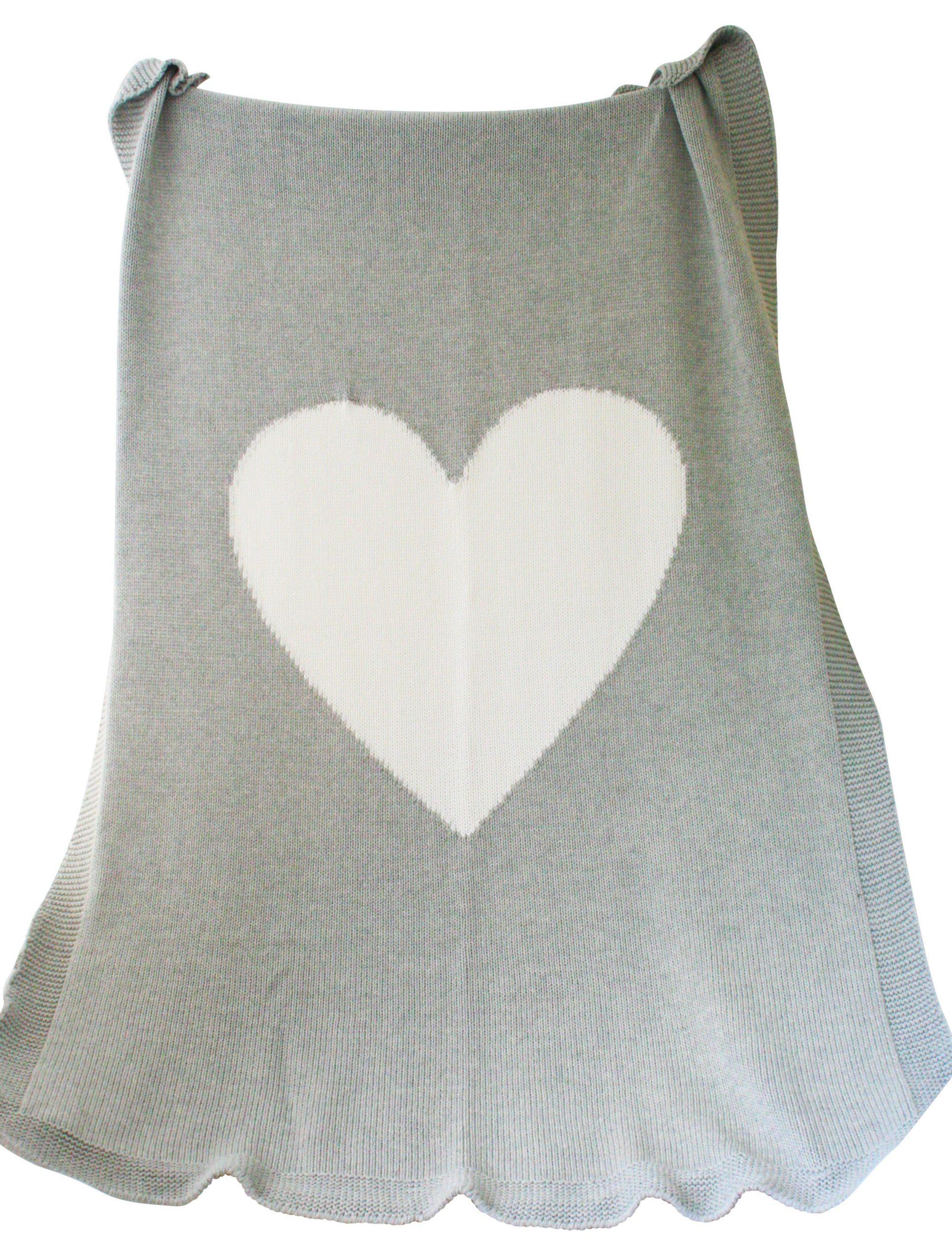 Alimrose Cotton Knit Heart Blanket - white /grey