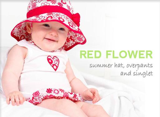 4 Little Ducks red flower hat