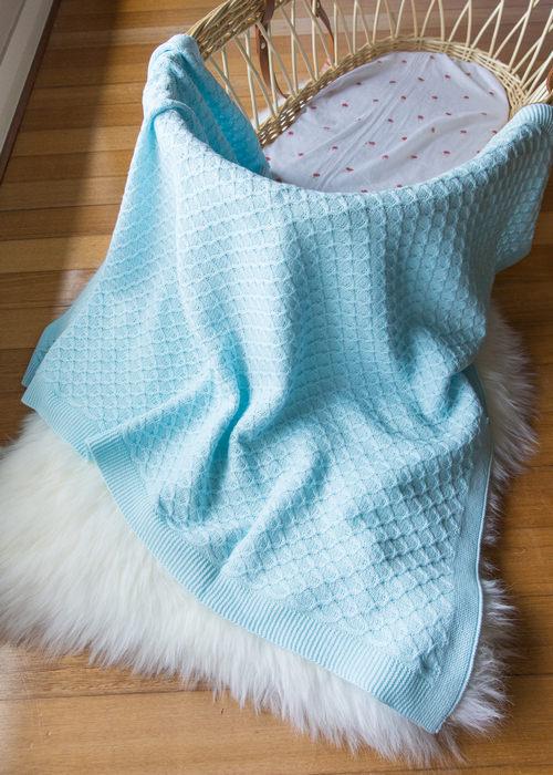Emotion and kids blue lace bassinet blanket | Sweet arrivals baby hampers