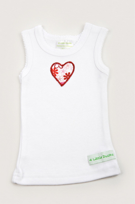 Big Sister Red Heart Singlet from 4 Little Ducks