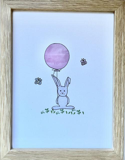 Framed pink bunny | Sweet Arrivals Baby Hampers