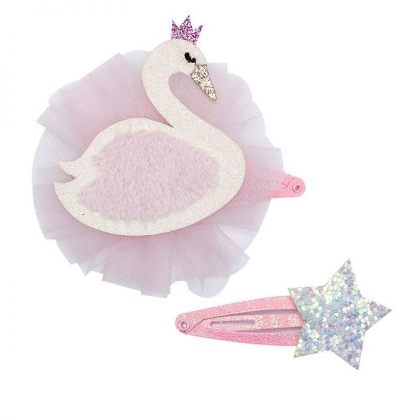 swan hair clip set | Sweet arrivals baby hampers